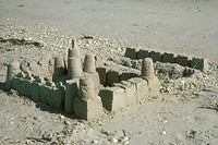 Sand-Castle-on-Beach,-Sanibel-Island,-FL