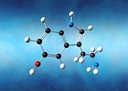 Serotonin molecule. Computer artwork of a molecule of serotonin (5-hydroxytryptamine, C10.H12.N2.O), a neurotransmitter. Atoms (spheres) are colour- c...