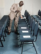 Businessman preparing for a presentation
