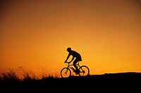 Off-road biker at sunset, Discovery Park, Seattle, Washington, USA