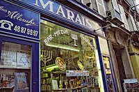 Jewish quarter, rue des Rosiers, shop for religious articles. Paris. France