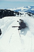 Skier against powder, overhead view