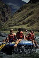 Family with three children (12-13), (14-15) rafting, Lower Salmon River, Idaho, USA