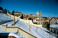 Winter, St. Vitus Cathedral and St. Nicholas church, Prague. Czech Republic