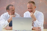 Two businessmen looking at laptop computer screen, close-up