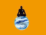 Yoga meditation, conceptual computer artwork.