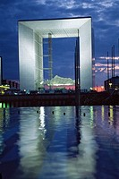 Grande Arche, fountain,  La D&#233;fense, modern architecture, Paris. France