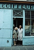 Jewish quarter, haircutter couple, Marais,  Rue des Rosiers, Paris. France