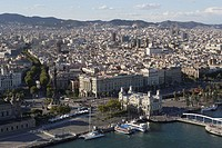 Spain, Europe, Catalonia, Barcelona, harbour, port, overview, town, city, coast