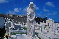 cemetery, Santa Maria Magdalena de Pazzis, statues, graves, San Juan, Puerto Rico, Caribbean