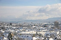 Switzerland, Europe, Zurich, town, city, winter, snow, snow_covered, town view, houses, homes, roofs, Wipkingen, lake,