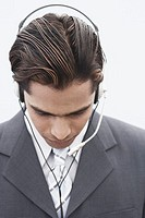 Close-up of a businessman wearing a headset
