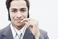 Portrait of a businessman wearing a headset