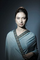 Portrait of a young woman wearing a sari