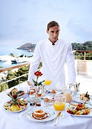 Waiter with breakfast table (thumbnail)