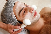 Man having a facial treatment in a spa (thumbnail)