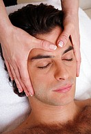 Man having facial massage