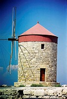 Windmill at Mandraki Harbor, old town of Rhodes, Greece (thumbnail)