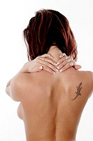 Backshot of topless woman showing her tattoo (thumbnail)