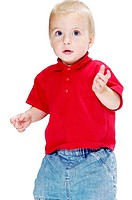 Boy wearing red shirt