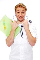 Male doctor wearing a stethoscope