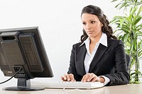 Businesswoman working on a computer