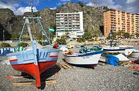 Spain, Andalusia, Almuñecar, beach, fishing boats