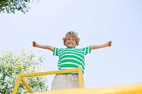 Boy on a climbing frame