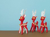 Herd of red reindeer