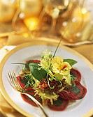 Beef carpaccio rolls with spinach pesto & lettuce garnish (2)