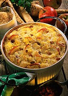 Parsnip and apple casserole with raisins and rice