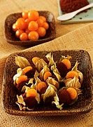 Chili chocolate sweet with physalis