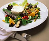 Grilled vegetable salad with goat´s cheese