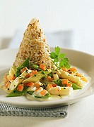 Ragout of spring vegetables with nut rice