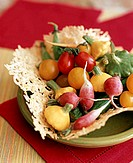 Cheese lattice basket with fresh vegetables