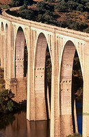 Viaduct of Azut&#225;n over Tajo river. Toledo province, Castilla-La Mancha, Spain