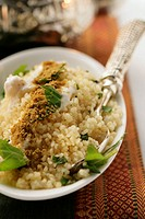 Couscous with yoghurt, mint and cinnamon