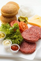 Ingredients for cheeseburgers