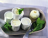 Cucumber and cheese mousse with fresh mint