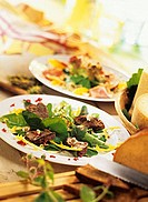 Salad leaves with fried liver