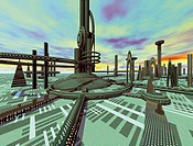 computer graphic images of future city and cyber city