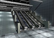 Low angle view of escalators in an office