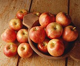 Gala apples in wooden bowl, elevated view