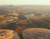 USA, Utah, Canyonlands National Park, Green River Overlook, sunset
