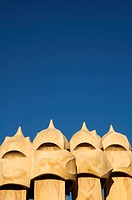 Detail of chimneys at Antonio Gaudi's La Pedrera Casa Mila, Barcelona, Spain