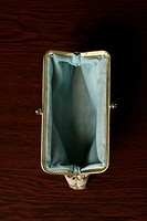 Empty purse, high angle view (thumbnail)