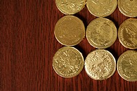 American 25-Dollar Gold Coins, close-up