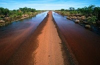 Flooded road. North of Broome. Western Australia