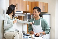 Woman Drinking Wine, Man Washing Dishes