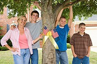 Mother and sons with patriotic decorations